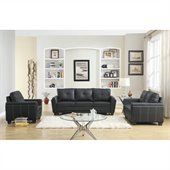 Homelegance Dwyer 3 Piece Sofa Set in  Black Vinyl