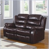 Homelegance Smithee Recliner Loveseat in Burgundy Polished Microfiber