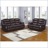 Homelegance Smithee Recliner Sofa and Loveseat Set in Burgundy