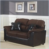 Homelegance Lombard Loveseat in Chocolate Microfiber and Bi-Cast Vinyl