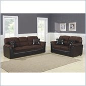 Homelegance Lombard Sofa and Loveseat  Set in Chocolate