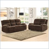 Homelegance Snyder Recliner Sofa and Loveseat Set in Coffee Microfiber