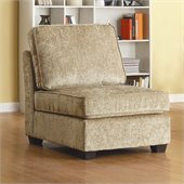 Homelegance Burke Modular Armless Single Chair in Brown Beige Chenille