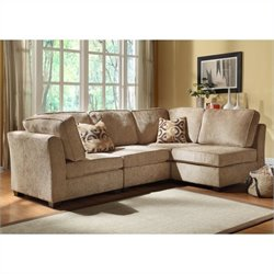 Trent Home Burke 4 Piece Sectional in Brown Beige Chenille