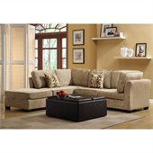 Homelegance Burke 5 Piece Sectional in Brown Beige Chenille 