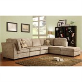 Homelegance Burke 6 Piece Sectional in Brown Beige Chenille 