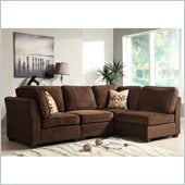 Homelegance Burke 4 Piece Sectional in Dark Brown Polyester