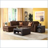 Homelegance Burke 5 Piece Sectional in Dark Brown Polyester