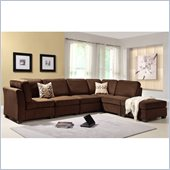 Homelegance Burke 6 Piece Sectional in Dark Brown Polyester
