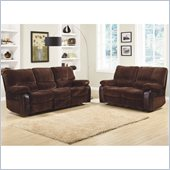 Homelegance Caputo Recliner Sofa and Loveseat Set in Dark Brown