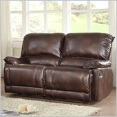 Homelegance Elsie Loveseat Recliner in Dark Brown Polished Microfiber
