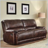 Homelegance Elsie Sofa Recliner in Dark Brown Polished Microfiber