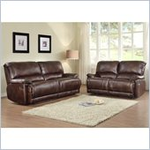 Homelegance Elsie Sofa and Loveseat Recliner Set in Dark Brown