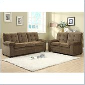 Homelegance Charley Sofa and Loveseat in Brown Chenille