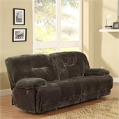 Homelegance Geoffrey Sofa Power Recliner in Chocolate Textured Plush