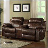 Homelegance Marille Rocking Reclining Loveseat in Warm Brown