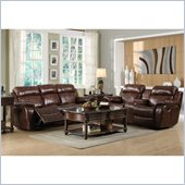 Homelegance Marille Reclining Sofa and Loveseat Set in Warm Brown