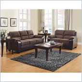 Homelegance Ellie Sofa and Loveseat Set in Dark Brown Microfiber