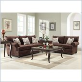 Homelegance Elena Sofa and Loveseat Set in Chocolate Chenille