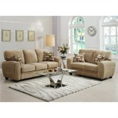 Homelegance Rubin Sofa and Loveseat in Light Brown