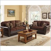 Homelegance Beckstead Sofa and Loveseat Set in Chocolate Chenille