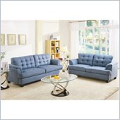 Homelegance St. Charles Sofa and Loveseat Set in Blue Grey