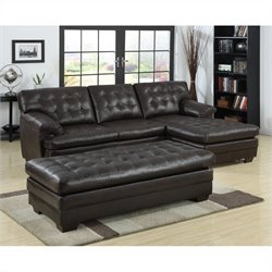 Trent Home Brooks Leather Sectional with Ottoman in Dark Brown
