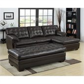 Homelegance Brooks Sectional with Ottoman in Dark Brown