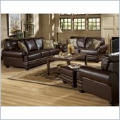 Homelegance Bentleys 3 Piece Sofa Set in Rich Brown Bonded Leather