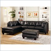 Homelegance Morgan Sectional in Black Bonded Leather