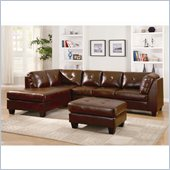 Homelegance Morgan Sectional in Brown Bonded Leather