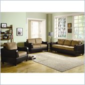 Homelegance Anthony 3 Piece Sofa Set in Brown and Dark Brown