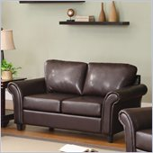 Homelegance Levan Loveseat in Dark Brown Vinyl