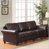 Homelegance Levan Sofa in Dark Brown Vinyl