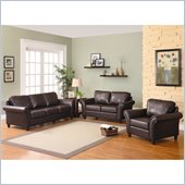 Homelegance Levan 3 Piece Sofa Set in Dark Brown Vinyl