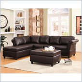Homelegance Levan Sectional in Dark Brown Vinyl