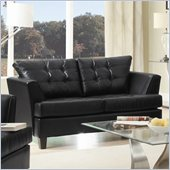 Homelegance Della Loveseat in Black Bonded Leather