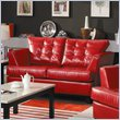 ADD TO YOUR SET: Homelegance Della Loveseat in Red Bonded Leather