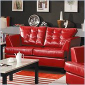 Homelegance Della Loveseat in Red Bonded Leather