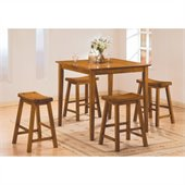 Homelegance Saddleback 5 Piece Counter Height Table Set in Oak 