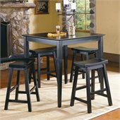 Homelegance Saddleback 5 Piece Counter Height Table Set in Black Sand