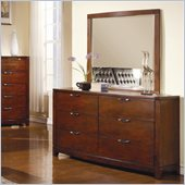 Homelegance Hamilton Dresser and Mirror Set in Brown Cherry