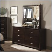 Homelegance Astrid Dresser and Mirror Set in Espresso Finish