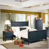 Homelegance Pottery Panel Bed 3 Piece Bedroom Set in Black
