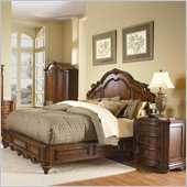 Homelegance Prenzo Queen Panel Bed 3 Piece Bedroom Set in Brown