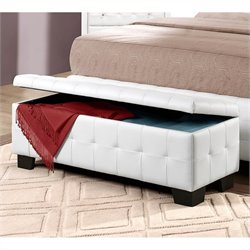 Homelegance Sparkle Lift Top Storage Bench Ottoman in White