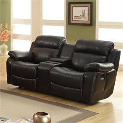 Homelegance Marille Reclining Leather Loveseat in Black