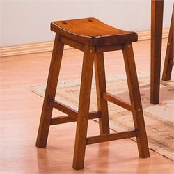 Homelegance Saddleback 18 Seat Height Bar Stool in Oak (Set of 2)