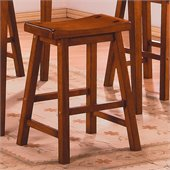 Homelegance Saddleback 24 Seat Height Bar Stool in Oak (Set of 2)