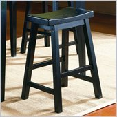 Homelegance Saddleback 24 Seat Height Bar Stool in Black (Set of 2)